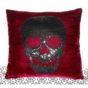 Dark Red Velvet Black Sequin Skull Throw Pillow